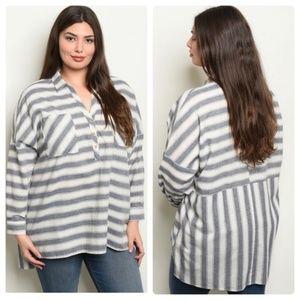 Boutique FAVLUX Grey & White Striped Top